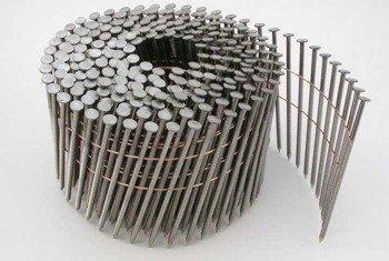 Gwoździe bębnowe na drucie 2,1 kąt 16° ryflowane galwanizowane długość 55mm