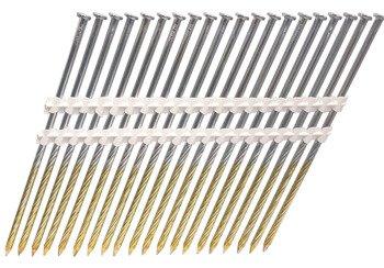 Gwoździe taśmowe łączone plastikiem 21°  4,2/160mm/skrętne/galwanizowane