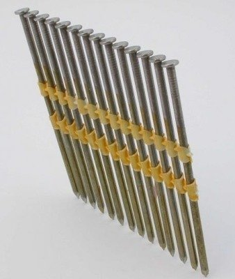 Gwoździe taśmowe łączone plastikiem 21°  3,3/90mm/skrętne/galwanizowane